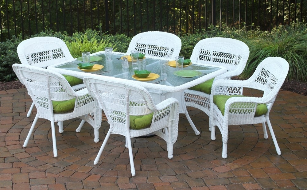"Tortuga Outdoor Portside 7 Piece 66"" Wicker Dining Set – Wicker With Rattan Dining Tables And Chairs (Image 22 of 25)"