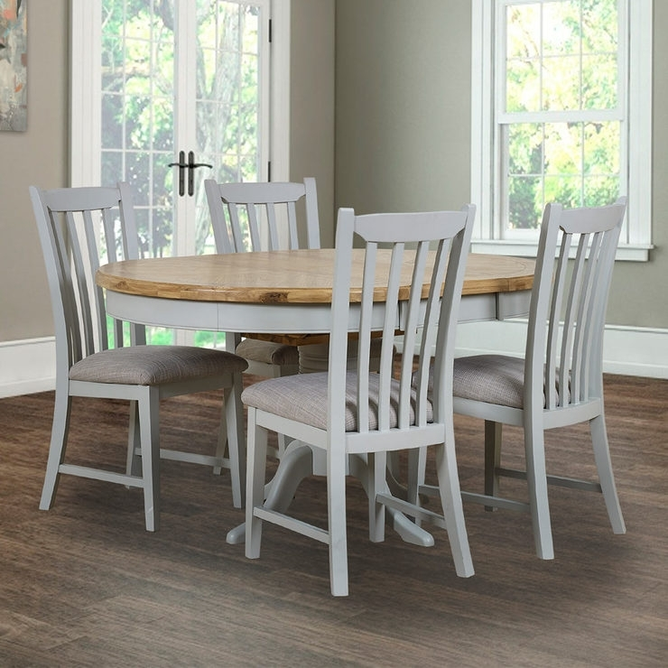 Toulouse Painted Light Grey Round Extending Dining Table + 4 Chairs Within Combs Extension Dining Tables (Image 24 of 25)