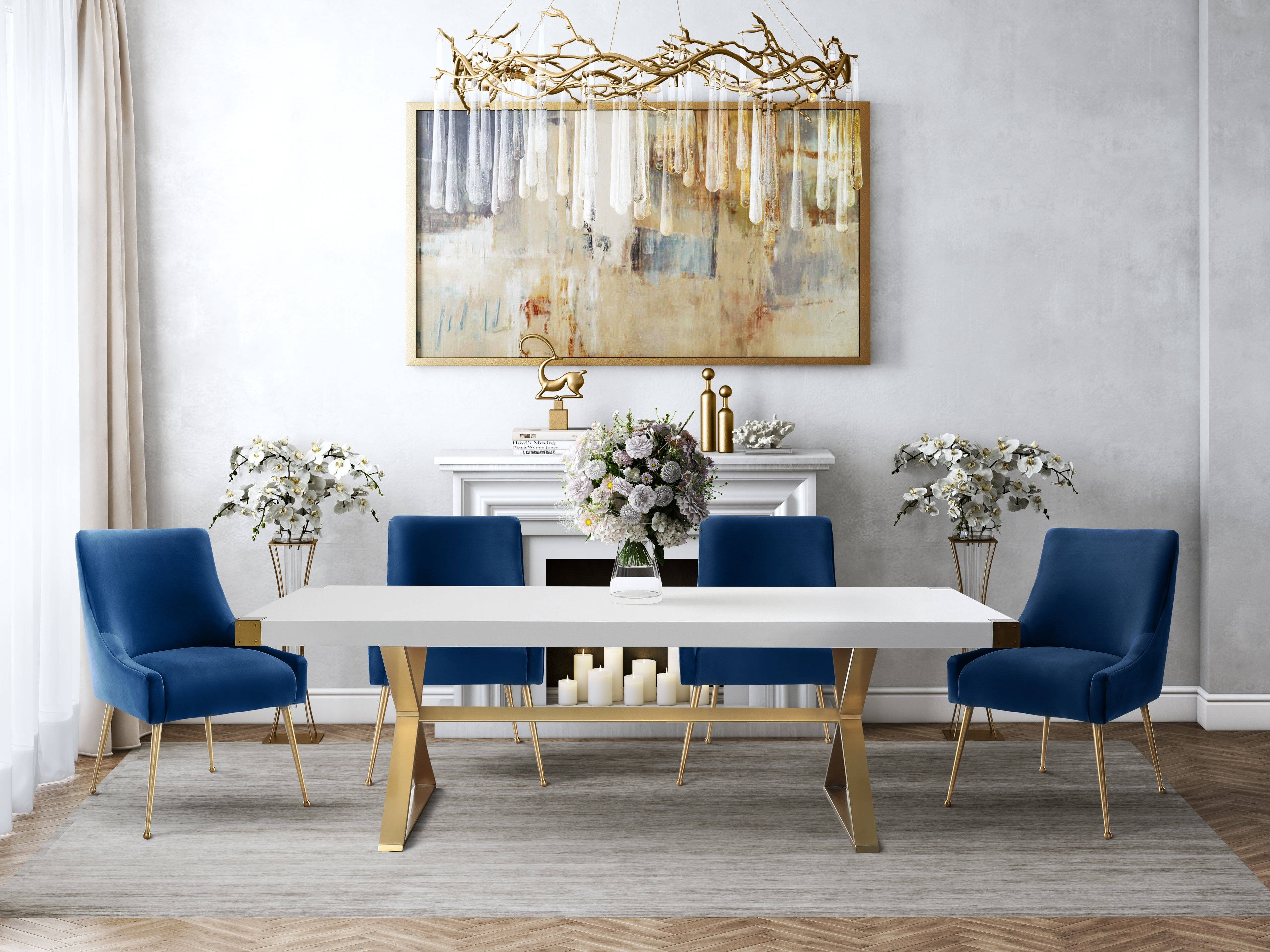 Tov Furniture Adeline 5Pc Dining Room Set With Navy Chairs | The Pertaining To Adeline 3 Piece Sectionals (View 16 of 25)
