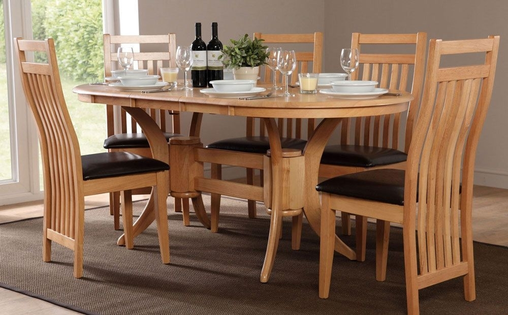Townhouse & Bali Extending Oak Dining Table And 4 6 Chairs Set Inside Bali Dining Sets (Image 23 of 25)