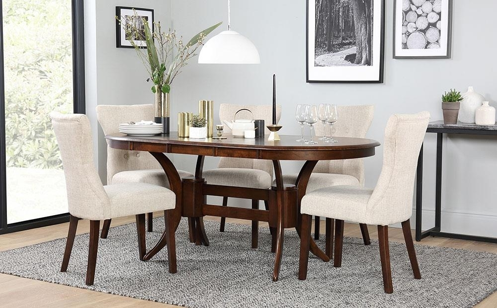 Townhouse Oval Dark Wood Extending Dining Table And 6 Chairs Set For Dark Wood Extending Dining Tables (View 3 of 25)