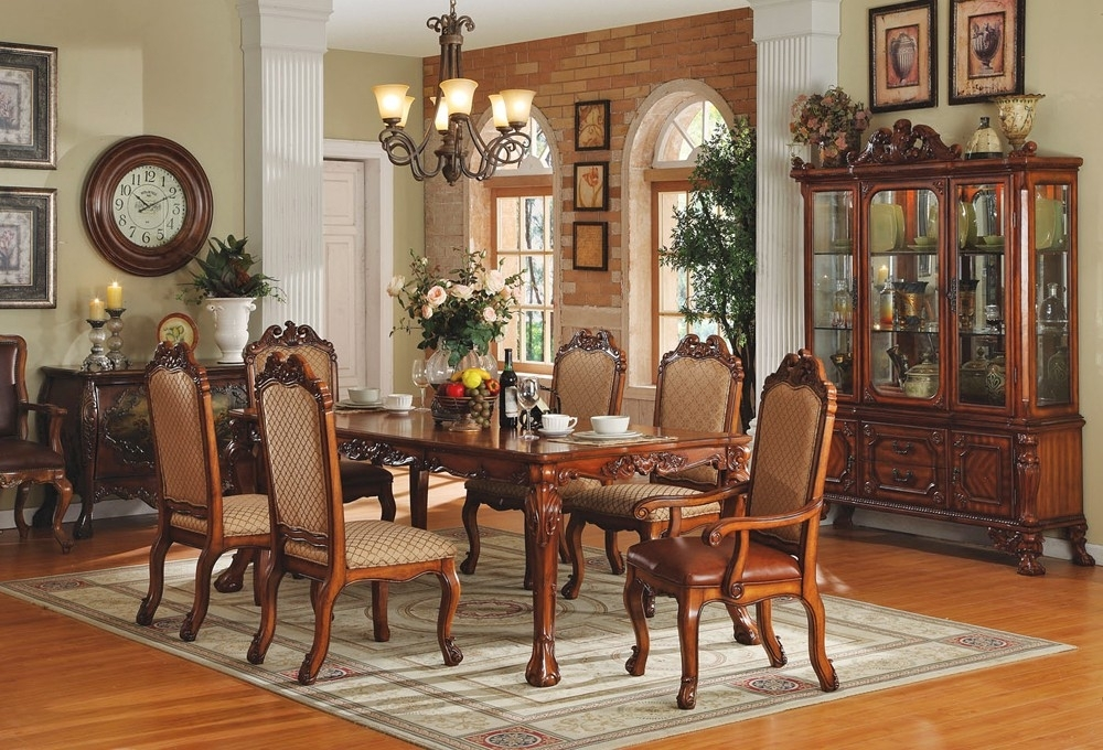 Traditional Dining Room Furniture White Chairs For Dining Table With Regard To Traditional Dining Tables (Image 15 of 25)