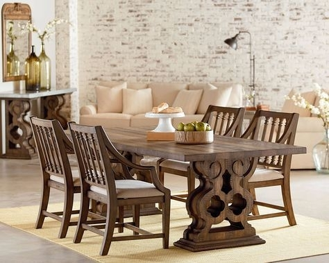 Traditional Double Pedestal Dining Room – Magnolia Home | Ev Regarding Magnolia Home Sawbuck Dining Tables (Image 25 of 25)