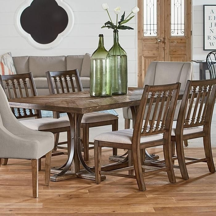 Traditional Iron Trestle Table In Shop Floor | Nebraska Furniture Pertaining To Magnolia Home Shop Floor Dining Tables With Iron Trestle (Image 23 of 25)