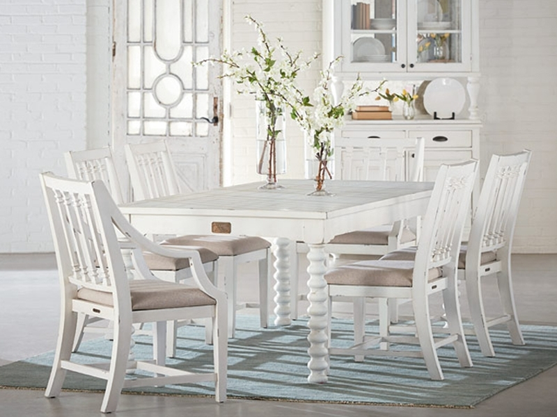 Traditional Spool Tablemagnolia Home Pertaining To Magnolia Home Shop Floor Dining Tables With Iron Trestle (Image 24 of 25)
