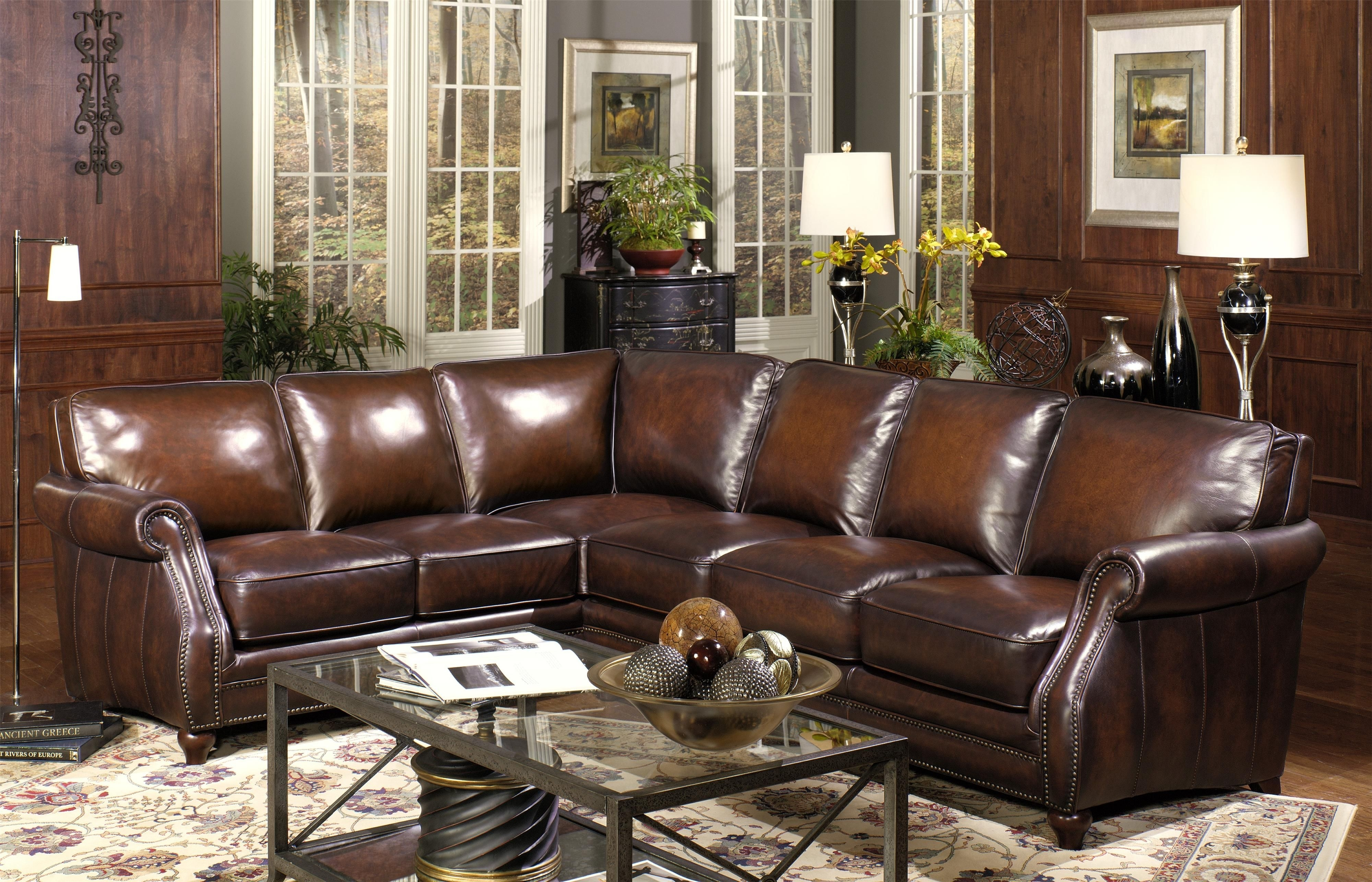 Traditional Two Piece Leather Sectional Sofa With Rolled Arms And Within Calder Grey 6 Piece Manual Reclining Sectionals (Image 25 of 25)