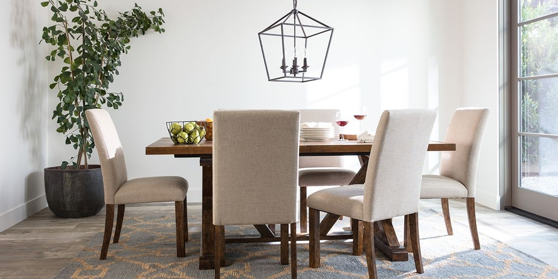 Transitional Dining Room With Chandler Dining Set | Dining Room With Regard To Chandler 7 Piece Extension Dining Sets With Fabric Side Chairs (Image 24 of 25)