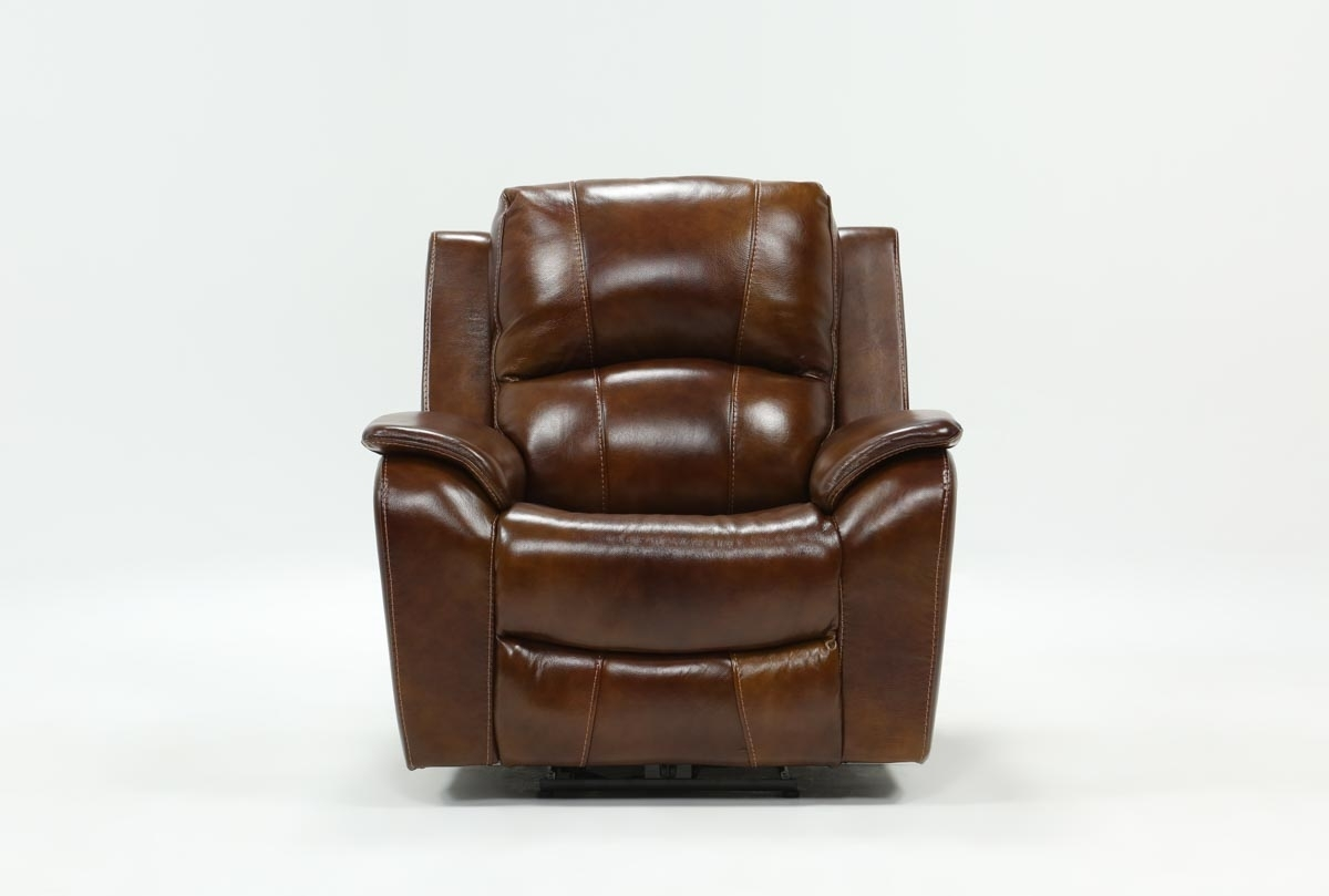 Travis Cognac Leather Power Recliner W/power Headrest And Usb Throughout Travis Cognac Leather 6 Piece Power Reclining Sectionals With Power Headrest & Usb (Image 24 of 25)