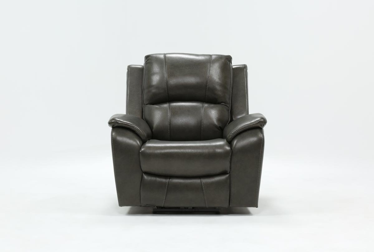 Travis Dark Grey Leather Power Recliner W/power Headrest And Usb Within Clyde Grey Leather 3 Piece Power Reclining Sectionals With Pwr Hdrst & Usb (View 7 of 25)