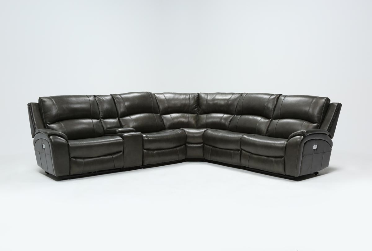Featured Image of Travis Dk Grey Leather 6 Piece Power Reclining Sectionals With Power Headrest & Usb