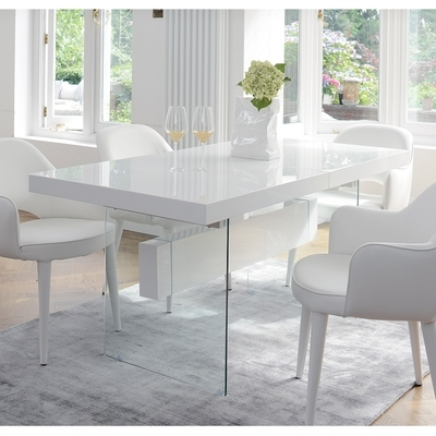 Treble Extending 6 8 Seater Dining Table White – Dwell With Regard To 8 Seater White Dining Tables (View 23 of 25)
