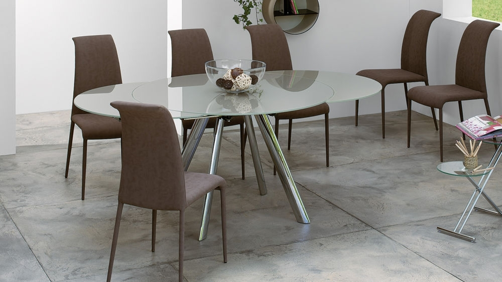 Trendy Extending Round Glass Dining Table | Black, Grey Or Taupe Glass Regarding Glass Extending Dining Tables (View 7 of 25)