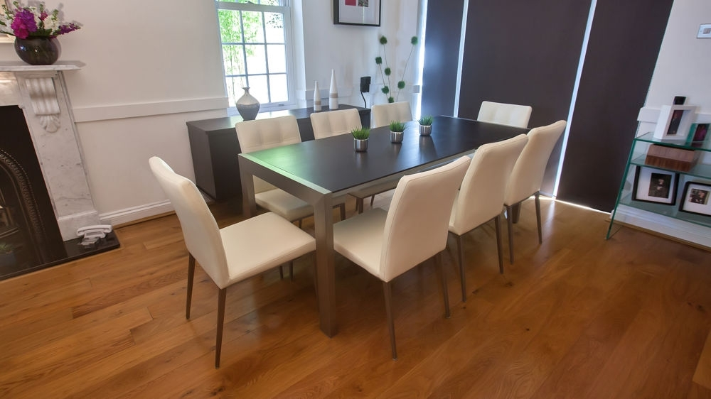 Trendy Wenge Extending Dining Table And Funky Quilted Chairs | Seats 8 With Regard To Dark Wood Extending Dining Tables (Image 24 of 25)