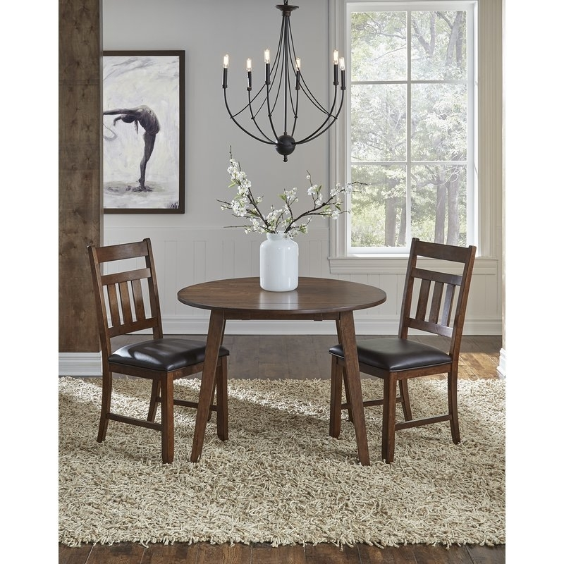 Trent Austin Design Caracara Round Dropleaf Extendable Dining Table For Drop Leaf Extendable Dining Tables (Image 23 of 25)