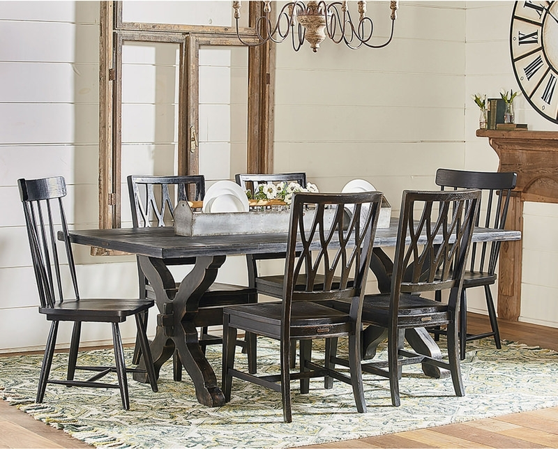 Trestle Dining Table With 4 Revival Side And | Hom Furniture In Magnolia Home Shop Floor Dining Tables With Iron Trestle (Image 25 of 25)
