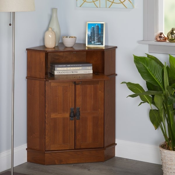 Triangle Corner Cabinet | Wayfair In Carly Triangle Tables (View 14 of 25)