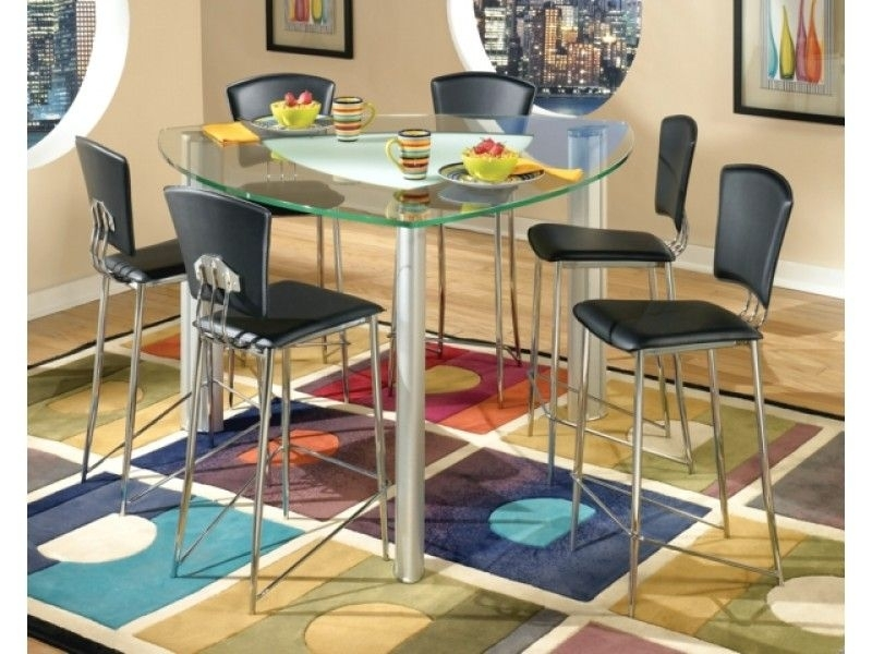 Triangular Modern Tracy Glass Counter Height Table & Chrome Stools Inside Caira Black 7 Piece Dining Sets With Arm Chairs & Diamond Back Chairs (Image 24 of 25)