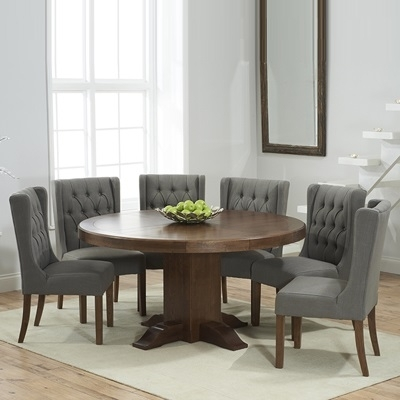 Trina Dark Solid Oak Round Dining Table With 6 Sophia Grey Chairs Inside Oak Round Dining Tables And Chairs (Image 22 of 25)