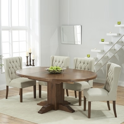 Trina Dark Solid Oak Round Extending Dining Table With 6 Sophia Intended For Round Extending Dining Tables And Chairs (Image 23 of 25)