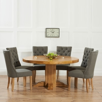 Trina Solid Oak Round Dining Table With 6 Albany Grey Chairs Within Oak Round Dining Tables And Chairs (View 3 of 25)