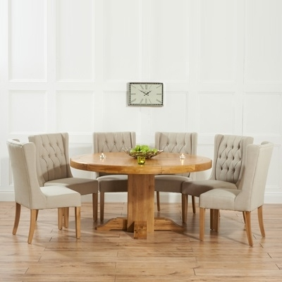 Trina Solid Oak Round Dining Table With 6 Sophia Beige Chairs With Regard To Oak Round Dining Tables And Chairs (Image 24 of 25)