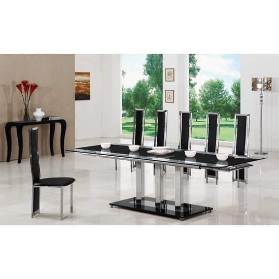Tripod Black Extending Glass Dining Table And 8 G601 Chairs Intended For Extending Glass Dining Tables And 8 Chairs (View 17 of 25)