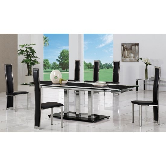 Tripod Black Extending Glass Dining Table And 8 G650 Chairs For 8 Seater Dining Tables And Chairs (View 24 of 25)