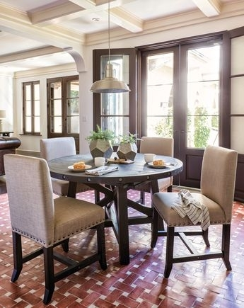 Tripton Rectangular Dining Room Table & 6 Uph Side Chairs Intended For Jaxon Grey 5 Piece Round Extension Dining Sets With Upholstered Chairs (View 17 of 25)