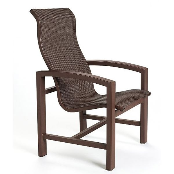 Tropitone Lakeside Sling High Back Dining Chair With Aluminum Frame Intended For High Back Dining Chairs (Image 24 of 25)