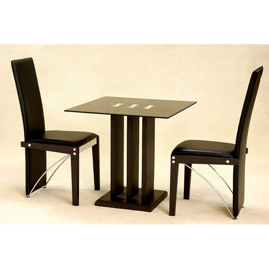 Troy Black Glass 2 Seater Dining Set | 4 Seater Glass Dining Sets With Two Seater Dining Tables (Image 18 of 25)
