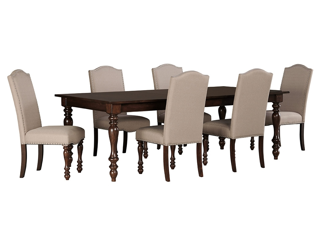 Tucker Furniture Baxenburg Brown Rectangular Dining Room Extension For Craftsman 7 Piece Rectangle Extension Dining Sets With Uph Side Chairs (Image 25 of 25)