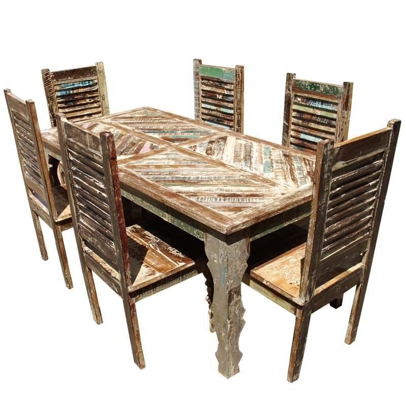 Tucson Rainbow Reclaimed Wood Dining Table & Shutter Back Chair Set Inside Cheap Reclaimed Wood Dining Tables (View 21 of 25)