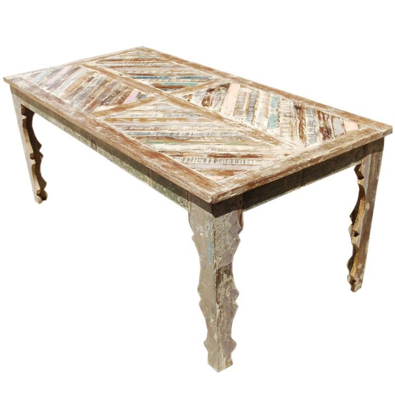 Tucson Rainbow Rustic Reclaimed Wood Parquet Top Dining Table Inside Parquet Dining Tables (Image 25 of 25)