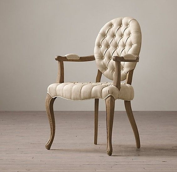 Tufted Round Arm Fabric Covered Leather Dining Chair , Elegant Inside Fabric Covered Dining Chairs (View 11 of 25)