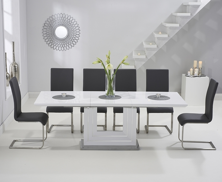Tula 160Cm White High Gloss Extending Dining Table With Malaga Chairs For Black Gloss Extending Dining Tables (Image 20 of 25)