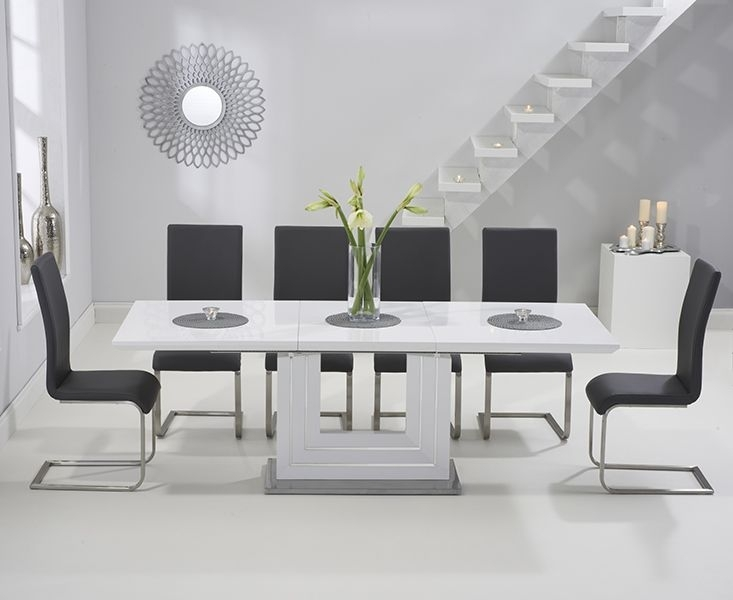 Tula 160Cm White High Gloss Extending Dining Table With Malaga With Regard To Extending White Gloss Dining Tables (Image 22 of 25)
