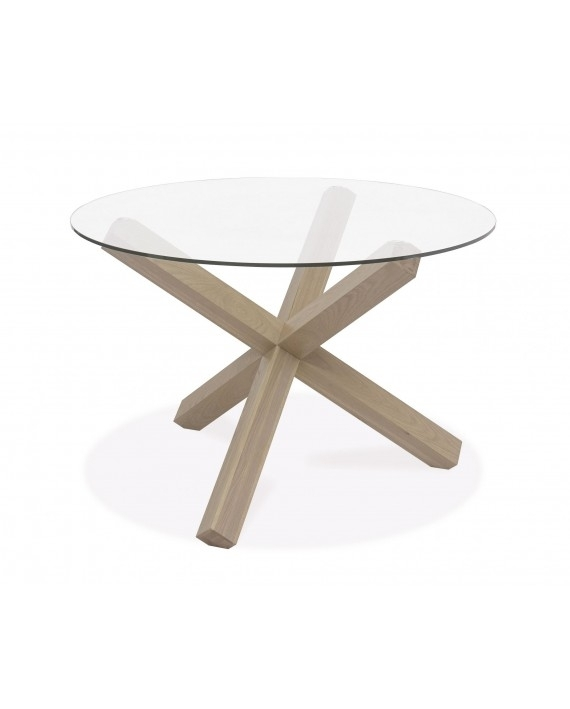 Turin Dining Table – Circular Glass Top – Aged Oak Pertaining To Round Glass And Oak Dining Tables (View 14 of 25)