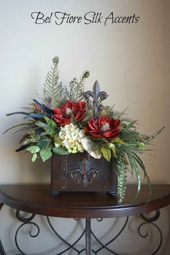 Tuscan Decor, Silk Flower Arrangement, Dining Table, Centerpiece Within Artificial Floral Arrangements For Dining Tables (Image 25 of 25)