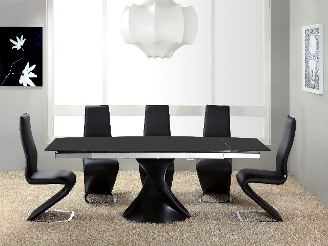 Twirl Black Matt Extending Dining Table Matt Black Extending Dining In Black Gloss Dining Tables (Image 22 of 25)