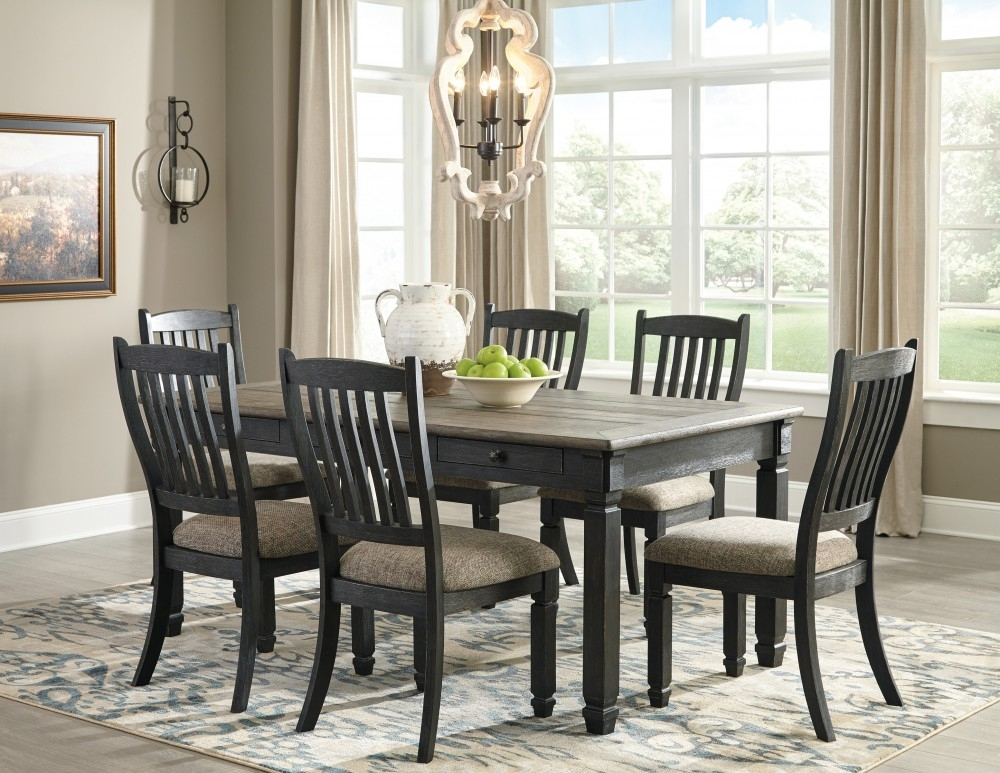 Tyler Creek – Rectangular Dining Room Table & 6 Uph Side Chairs Throughout Market 6 Piece Dining Sets With Side Chairs (View 4 of 25)