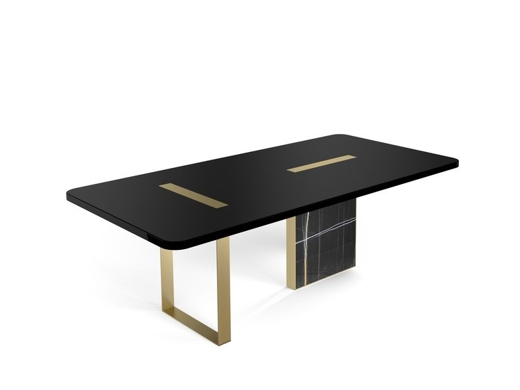 Tyron Dining Table 220X110 In Black Laquered Wood With Bru With Laurent Rectangle Dining Tables (View 18 of 25)