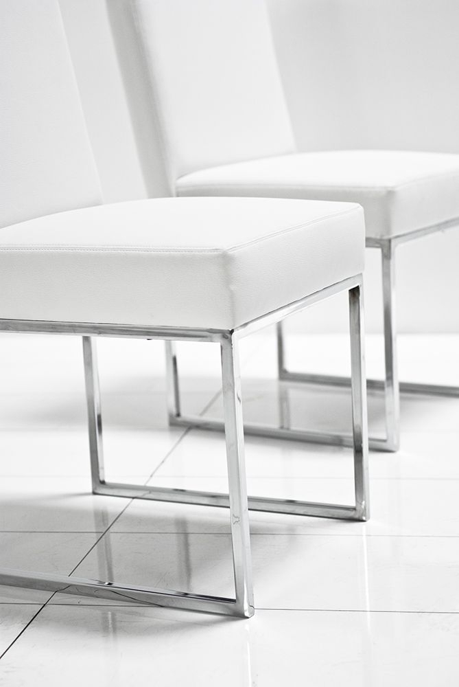 U Chrome White Matte Leather Dining Chair – Roomservicestore Pertaining To White Leather Dining Room Chairs (Image 21 of 25)