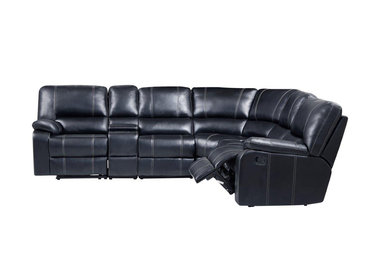 U8135 Pluto Black Leather 6 Pc Sectionalglobal Furniture Within Aurora 2 Piece Sectionals (View 14 of 25)