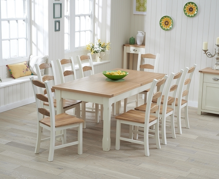 Udine Oak And Cream 130Cm Extending Dining Set With 4 Chairs With Regard To Cream And Wood Dining Tables (Image 24 of 25)