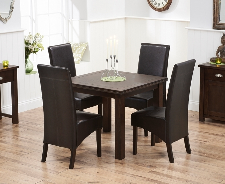 Udine Solid Dark Oak 90Cm Flip Top Extending Dining Set With 4 Throughout Oak Extending Dining Tables And 4 Chairs (Image 21 of 25)