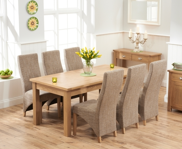 Udine Solid Oak 180Cm Extending Dining Set With 6 Barrow Tweed In Dining Tables And Fabric Chairs (View 18 of 25)