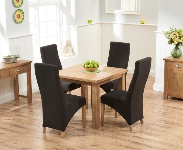 Udine Solid Oak 90Cm Flip Top Extending Dining Set With 4 Barrow Inside Oak Dining Tables And Fabric Chairs (Image 23 of 25)