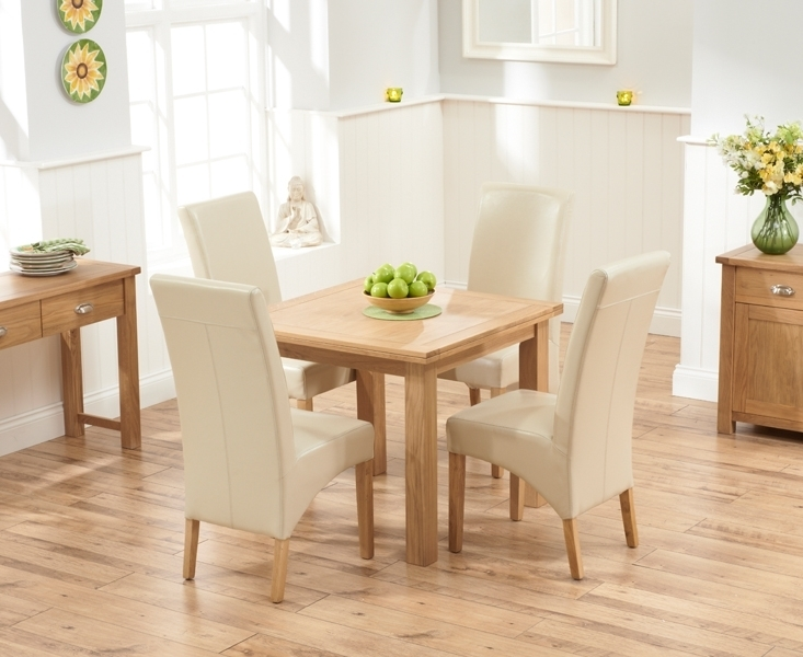 Udine Solid Oak 90Cm Flip Top Extending Dining Set With 4 Tivoli In Oak Dining Tables And Leather Chairs (View 18 of 25)