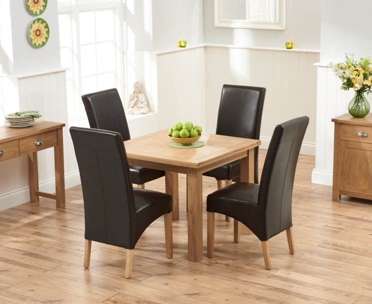 Udine Solid Oak 90Cm Flip Top Extending Dining Set With 4 Tivoli In Oak Dining Tables And Leather Chairs (View 7 of 25)