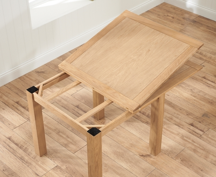 Udine Solid Oak 90Cm Flip Top Extending Dining Set With 4 Tivoli With Flip Top Oak Dining Tables (Photo 21 of 25)